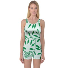 Leaves Foliage Green Wallpaper One Piece Boyleg Swimsuit by Wegoenart