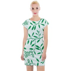 Leaves Foliage Green Wallpaper Cap Sleeve Bodycon Dress by Wegoenart