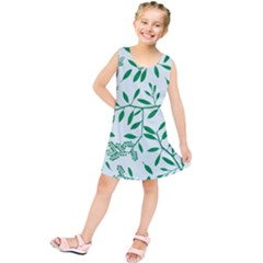Leaves Foliage Green Wallpaper Kids  Tunic Dress