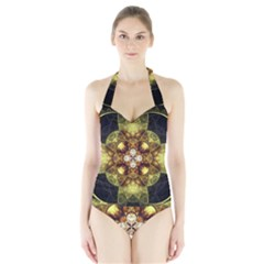 Fractal Yellow Gold Decorative Halter Swimsuit