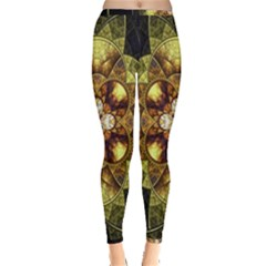 Fractal Yellow Gold Decorative Inside Out Leggings