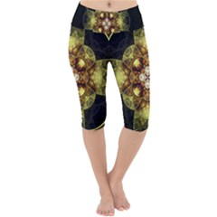 Fractal Yellow Gold Decorative Lightweight Velour Cropped Yoga Leggings