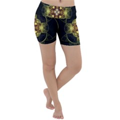 Fractal Yellow Gold Decorative Lightweight Velour Yoga Shorts