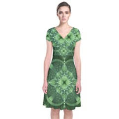 Fractal Green St Patrick S Day Short Sleeve Front Wrap Dress