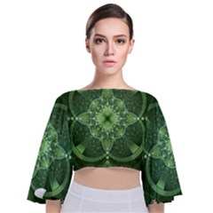 Fractal Green St Patrick S Day Tie Back Butterfly Sleeve Chiffon Top