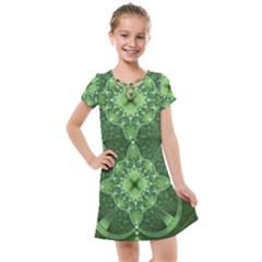 Fractal Green St Patrick S Day Kids  Cross Web Dress
