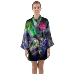 Perspective Technology Fractal Long Sleeve Kimono Robe
