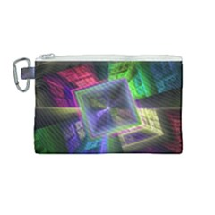 Perspective Technology Fractal Canvas Cosmetic Bag (medium) by Wegoenart