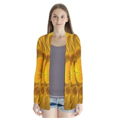 Fractal Yellow Flower Floral Drape Collar Cardigan