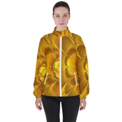 Fractal Yellow Flower Floral High Neck Windbreaker (women)
