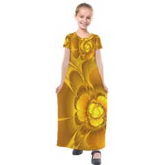 Fractal Yellow Flower Floral Kids  Short Sleeve Maxi Dress by Wegoenart