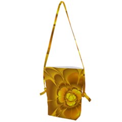 Fractal Yellow Flower Floral Folding Shoulder Bag by Wegoenart