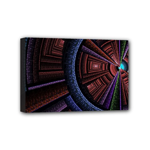 Fractal Circle Pattern Curve Mini Canvas 6  X 4  (stretched)
