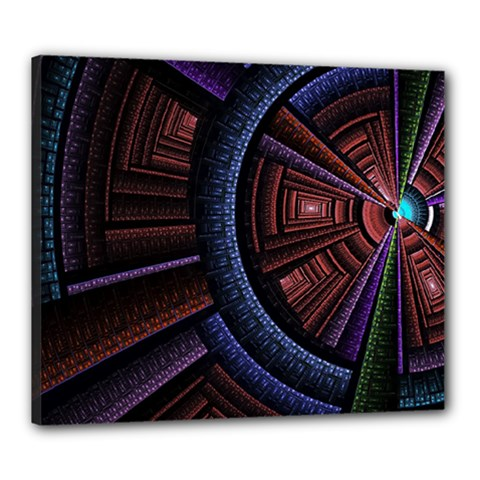 Fractal Circle Pattern Curve Canvas 24  X 20  (stretched) by Wegoenart