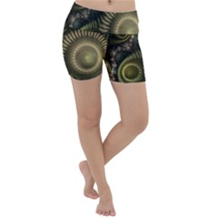 Fractal Steampunk Gears Fantasy Lightweight Velour Yoga Shorts