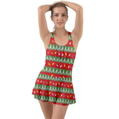 Christmas Papers Red And Green Ruffle Top Dress Swimsuit