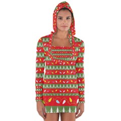 Christmas Papers Red And Green Long Sleeve Hooded T-shirt