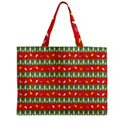 Christmas Papers Red And Green Zipper Medium Tote Bag