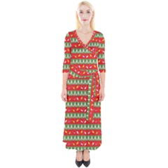 Christmas Papers Red And Green Quarter Sleeve Wrap Maxi Dress by Wegoenart