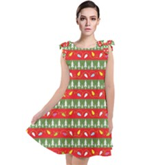 Christmas Papers Red And Green Tie Up Tunic Dress by Wegoenart