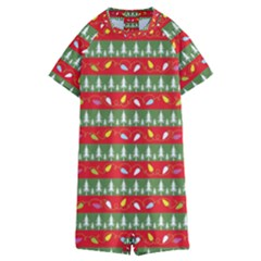Christmas Papers Red And Green Kids  Boyleg Half Suit Swimwear