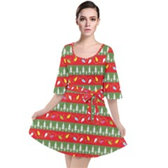 Christmas Papers Red And Green Velvet Kimono Dress