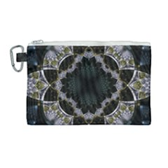 Fractal Aqua Silver Pattern Canvas Cosmetic Bag (large)