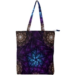 Geometry Fractal Colorful Geometric Double Zip Up Tote Bag