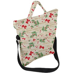 Christmas Paper Scrapbooking Fold Over Handle Tote Bag
