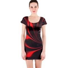Abstract Curve Dark Flame Pattern Short Sleeve Bodycon Dress