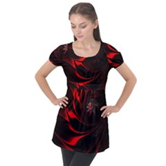 Abstract Curve Dark Flame Pattern Puff Sleeve Tunic Top