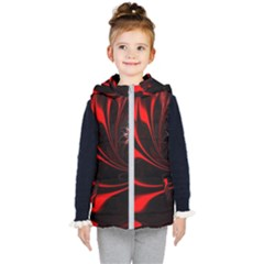 Abstract Curve Dark Flame Pattern Kid s Hooded Puffer Vest by Wegoenart
