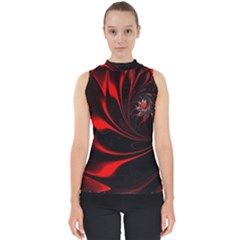 Abstract Curve Dark Flame Pattern Mock Neck Shell Top