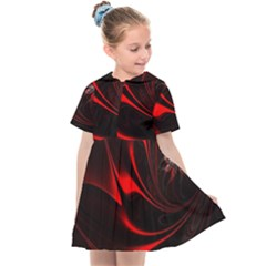 Abstract Curve Dark Flame Pattern Kids  Sailor Dress