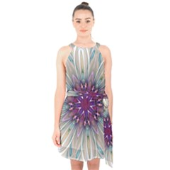 Mandala Kaleidoscope Ornament Halter Collar Waist Tie Chiffon Dress by Wegoenart