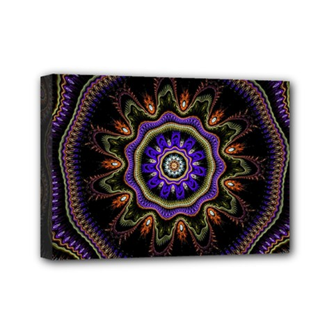 Fractal Vintage Colorful Decorative Mini Canvas 7  X 5  (stretched)