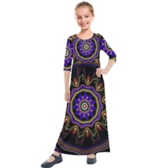 Fractal Vintage Colorful Decorative Kids  Quarter Sleeve Maxi Dress by Wegoenart