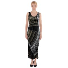 Fractal Circle Circular Geometry Fitted Maxi Dress
