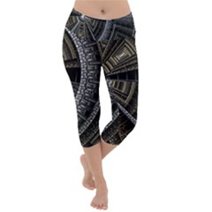 Fractal Circle Circular Geometry Lightweight Velour Capri Yoga Leggings