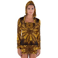 Mandala Gold Golden Fractal Long Sleeve Hooded T Shirt