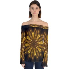 Mandala Gold Golden Fractal Off Shoulder Long Sleeve Top