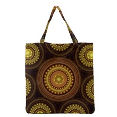 Fractal Yellow Gold Circles Grocery Tote Bag