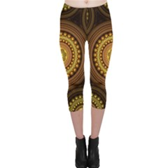 Fractal Yellow Gold Circles Capri Leggings
