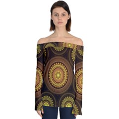 Fractal Yellow Gold Circles Off Shoulder Long Sleeve Top