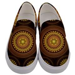 Fractal Yellow Gold Circles Men s Canvas Slip Ons