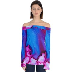 Abstract Detail Art Texture Off Shoulder Long Sleeve Top