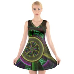 Fractal Threads Colorful Pattern V Neck Sleeveless Dress