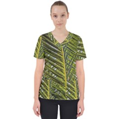 Palm Fronds Palm Palm Leaf Plant Women s V Neck Scrub Top by Wegoenart