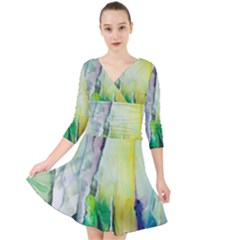 Art Abstract Modern Abstract Quarter Sleeve Front Wrap Dress