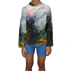 Art Abstract Painting Abstract Kids  Long Sleeve Swimwear